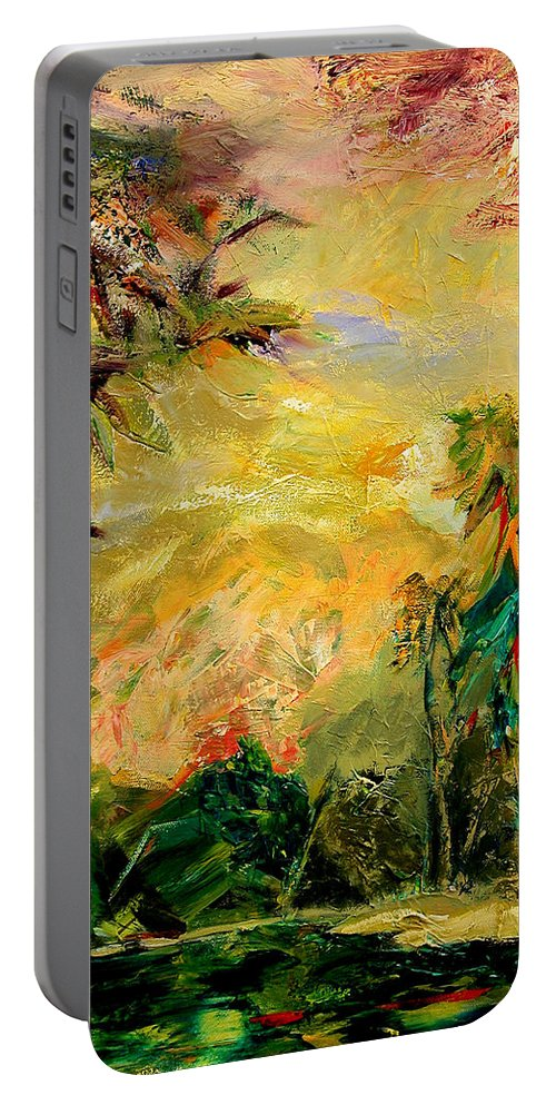 Tropical Paintings Portable Battery Charger featuring the painting Steamy Cove by Julianne Felton