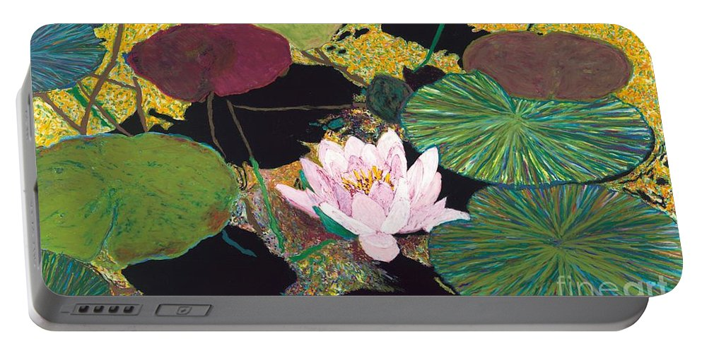 Landscape Portable Battery Charger featuring the painting Steamy Pond by Allan P Friedlander