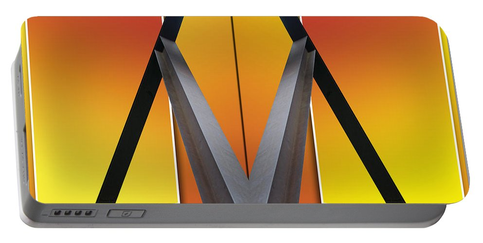 Out Of Bounds Portable Battery Charger featuring the photograph Steel Beams 02 Mirror Image by Thomas Woolworth