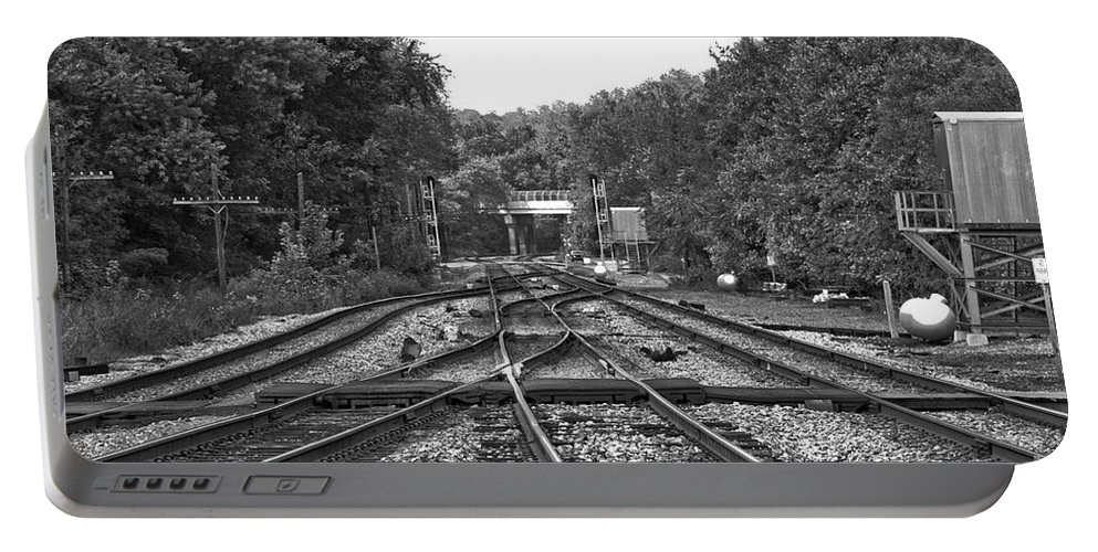 Railroad Portable Battery Charger featuring the photograph Steel Rail Intersections.  Point Of Rocks Md by Thomas Marchessault