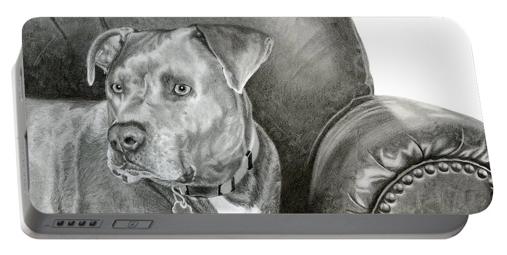 Dog Portrait Portable Battery Charger featuring the drawing Leather And Steel by Sarah Batalka