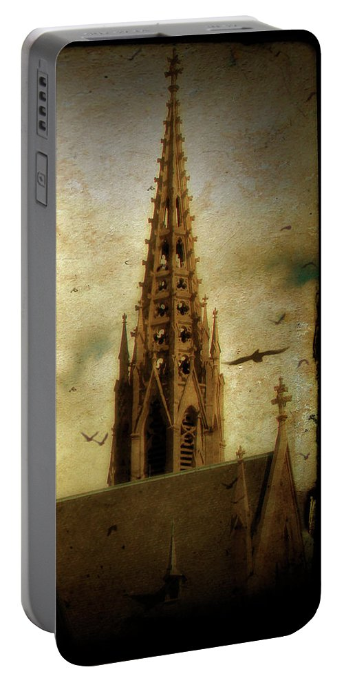 Birds Portable Battery Charger featuring the photograph Steeple Crows by Gothicrow Images