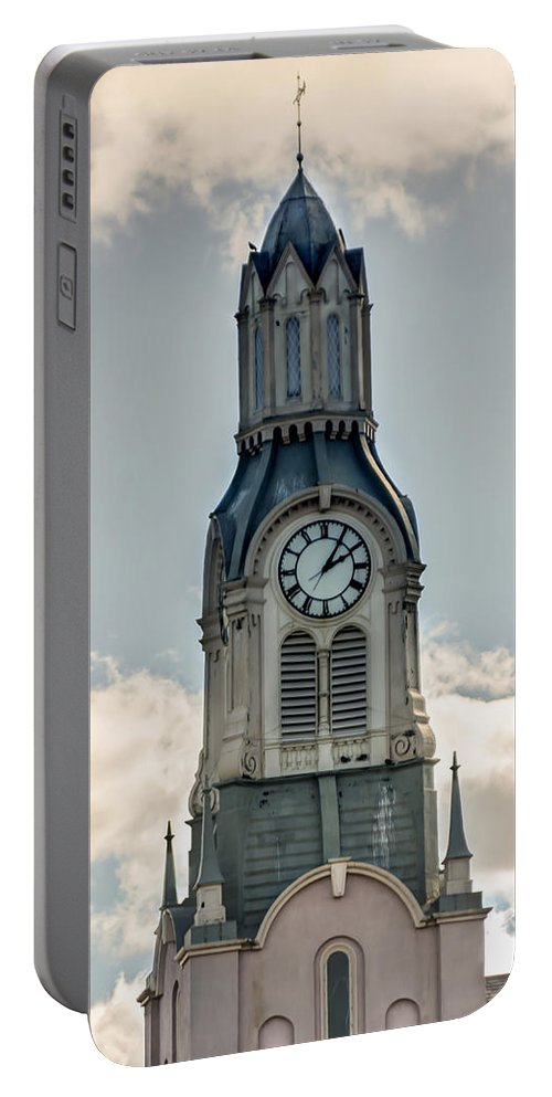 Laura Duhaime Photography Portable Battery Charger featuring the photograph Steeple In Haverhill Ma by Laura Duhaime