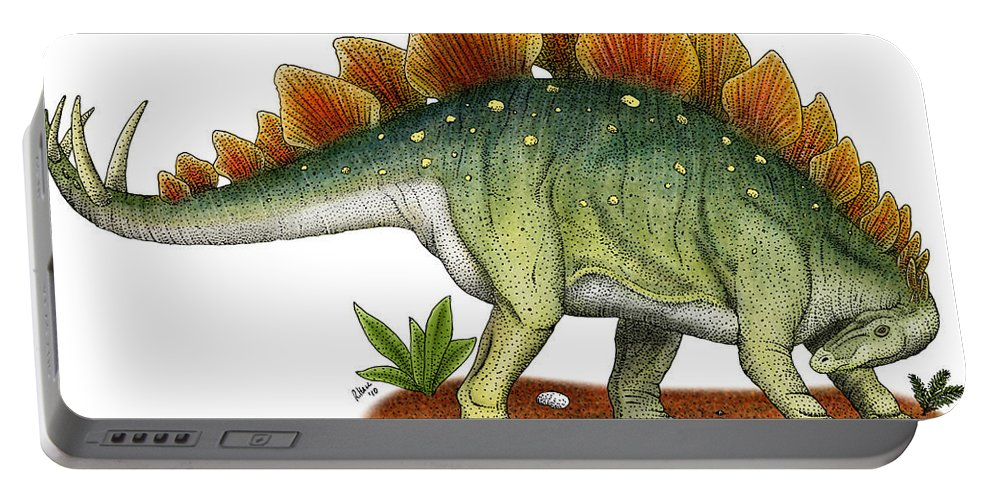 Dinosaur Portable Battery Charger featuring the photograph Stegosaurus by Roger Hall