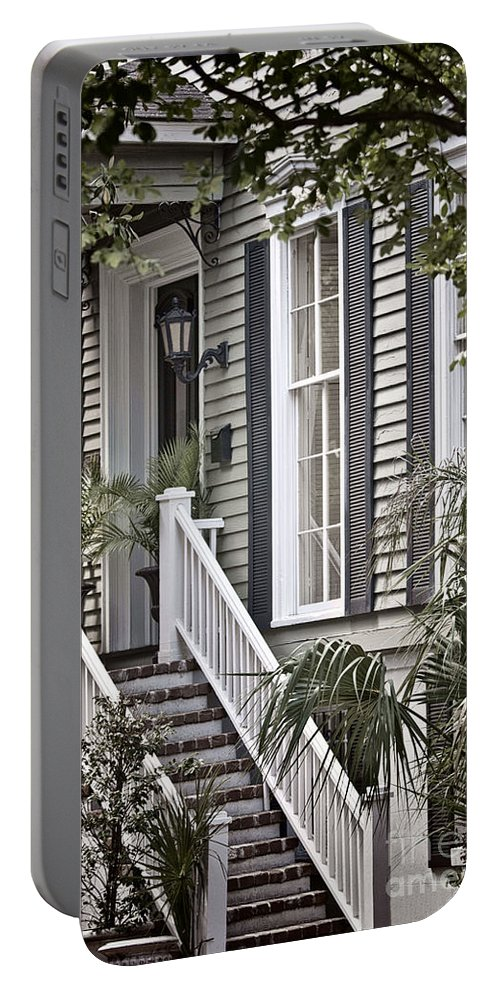 House; Home; Exterior; Outside; Outdoors; Steps; Stairs; Staircase; Brick; Wood; Rail; Railing; Side; Windows; Siding; Door; Light; Entrance; Facade; Entry; Plants; Green; Nature; Trees; Welcome; Lovely; Beautiful Portable Battery Charger featuring the photograph Step Up by Margie Hurwich