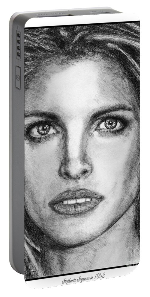 Mccombie Portable Battery Charger featuring the drawing Stephanie Seymour In 1992 by J McCombie