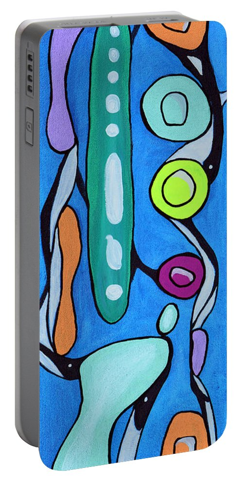 Sixties Portable Battery Charger featuring the painting Stepping Into The Sixties by Donna Blackhall