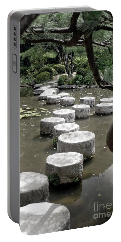 Kyoto Portable Battery Charger featuring the photograph Stepping Stone Kyoto Japan by Thomas Marchessault