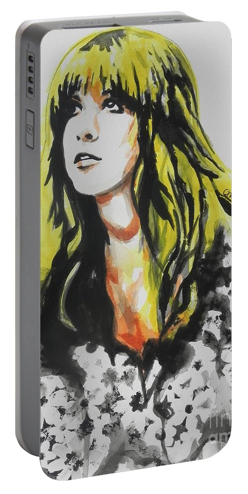 Watercolor Painting Portable Battery Charger featuring the painting Stevie Nicks 02 by Chrisann Ellis