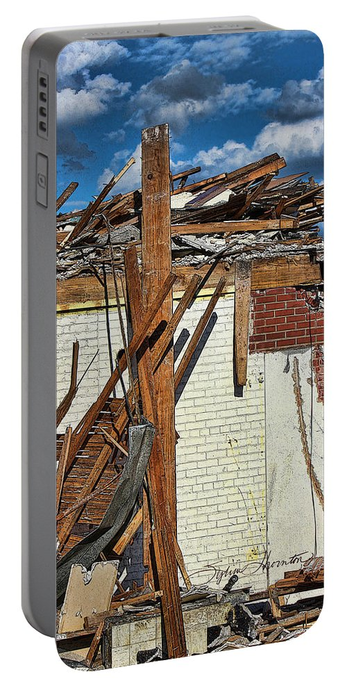 Demolition Portable Battery Charger featuring the photograph Sticks And Stones by Sylvia Thornton