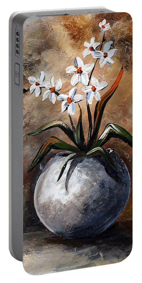 Art Portable Battery Charger featuring the painting Still Life 049 by Voros Edit