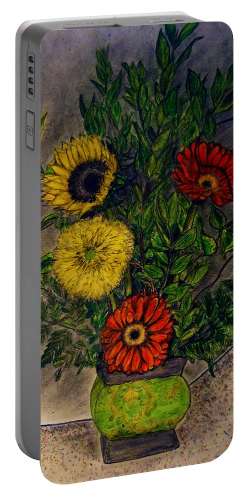 Still Life Portable Battery Charger featuring the drawing Still Life Ceramic Vase With Two Gerbera Daisy And Two Sunflowers by Jose A Gonzalez Jr