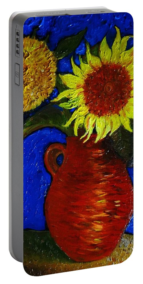 Still Life: Clay Vase With Two Sunflowers Portable Battery Charger featuring the painting Still Life Clay Vase With Two Sunflowers by Jose A Gonzalez Jr