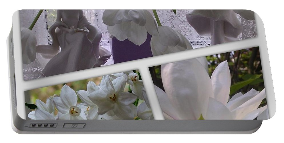 Porcelain Portable Battery Charger featuring the photograph Still Life In White by Joan-Violet Stretch