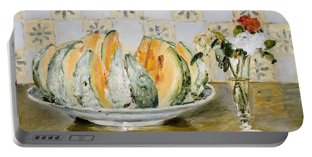 1872 Portable Battery Charger featuring the painting Still Life Of A Melon And A Vase Of Flowers by Pierre Auguste Renoir
