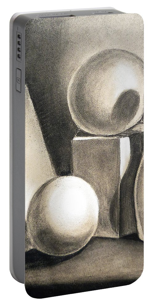 Still Portable Battery Charger featuring the drawing Still Life Study Of Forms by Irina Sztukowski