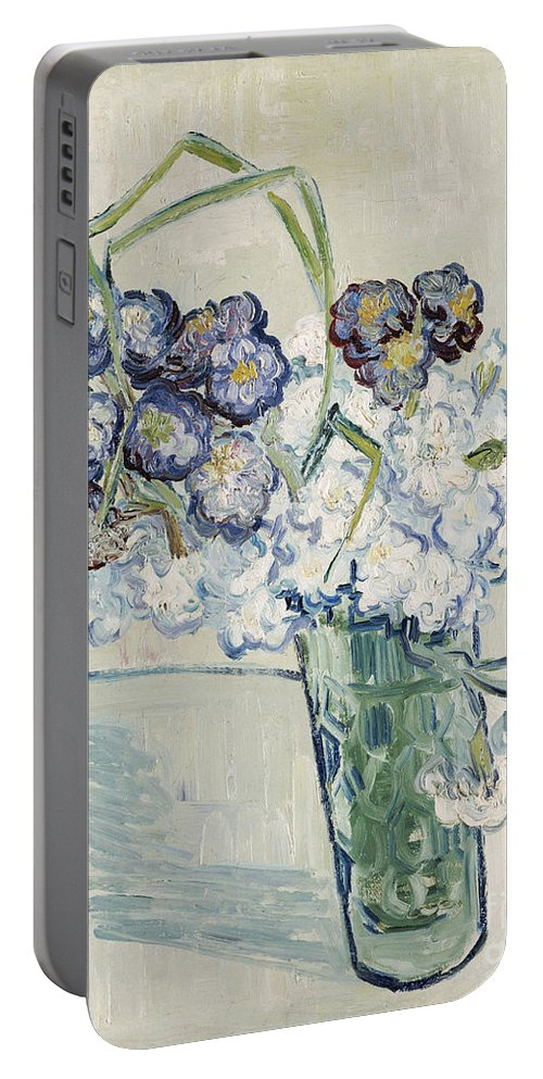 June Portable Battery Charger featuring the painting Still Life Vase Of Carnations by Vincent van Gogh