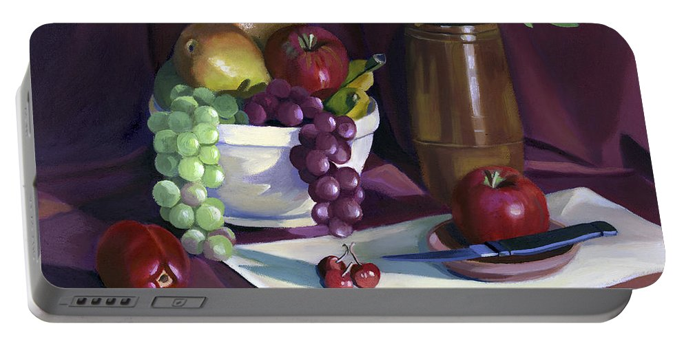 Fine Art Portable Battery Charger featuring the painting Still Life With Apples by Nancy Griswold