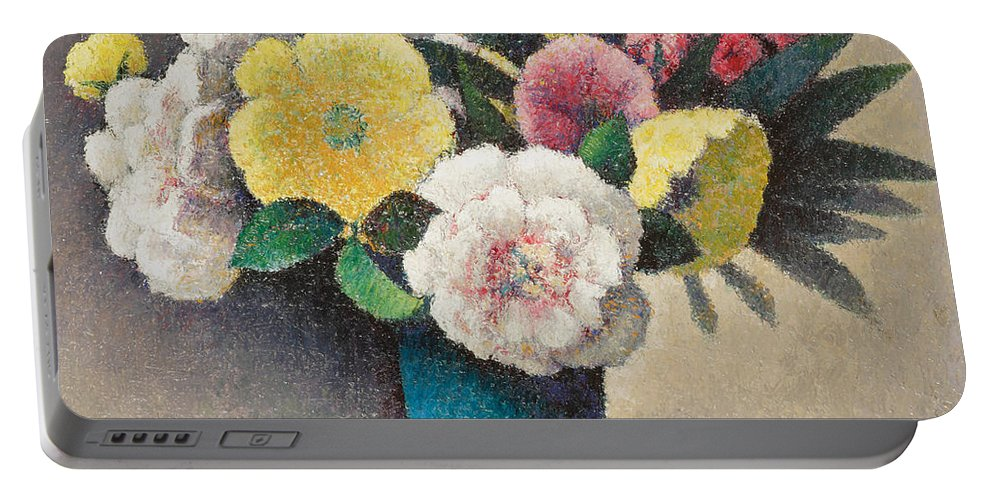 Nature Portable Battery Charger featuring the painting Still Life With Flowers by Felix Elie Tobeen