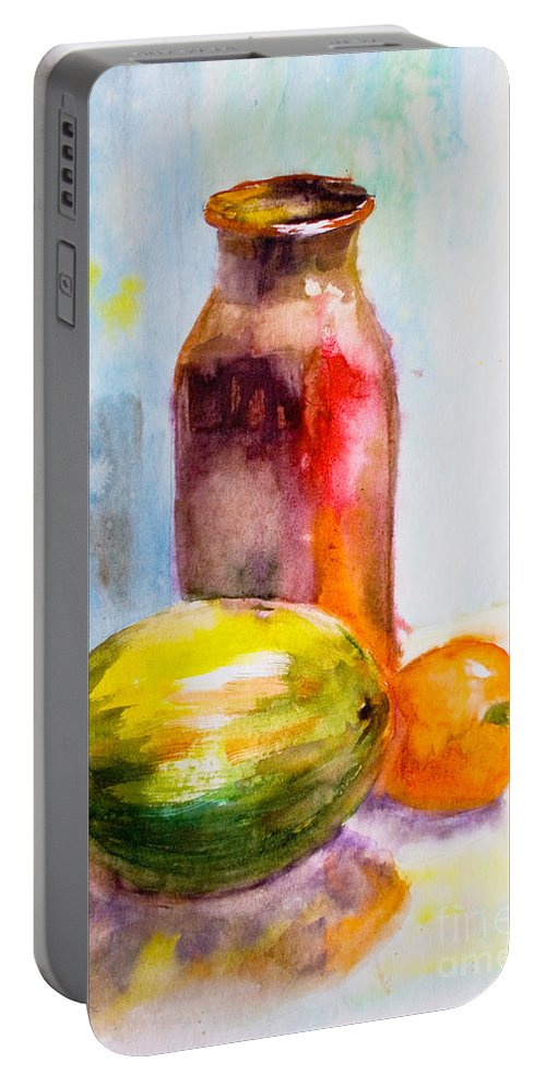 Antique Portable Battery Charger featuring the painting Still Life With Jug And Fruit by Regina Jershova