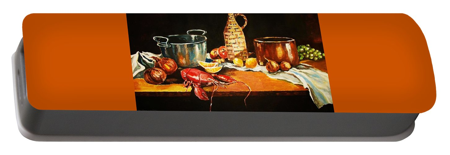 Still Life Portable Battery Charger featuring the painting Still Life With Pots Fruit Etc. by Al Brown