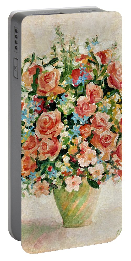 Flowers Portable Battery Charger featuring the painting Still Life With Roses by Iliyan Bozhanov