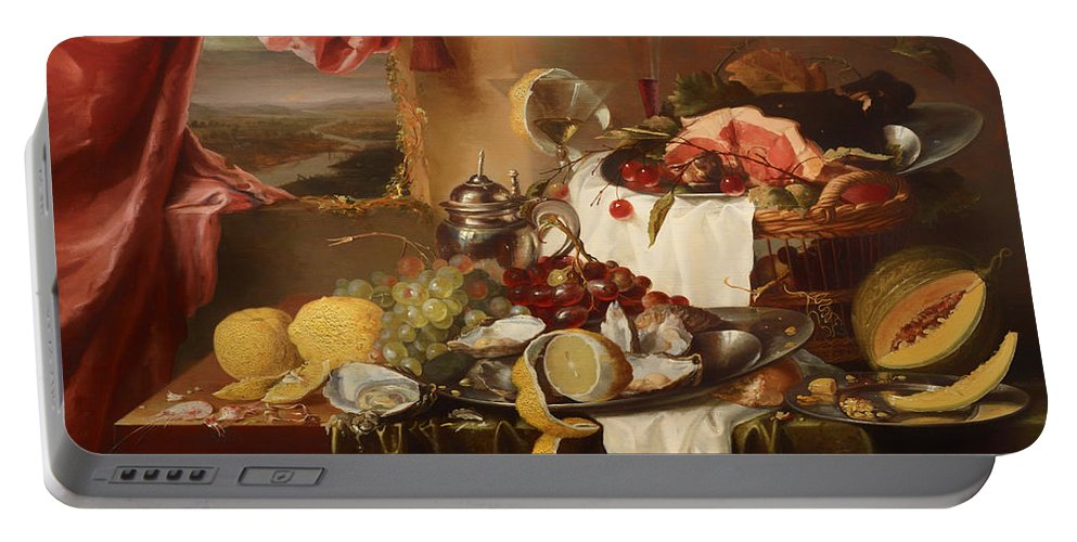 Painting Portable Battery Charger featuring the painting Still Life With View by Mountain Dreams