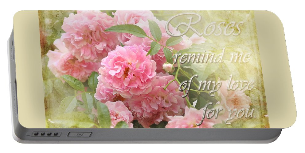 Rose Portable Battery Charger featuring the photograph Stirred Memories by Karen Beasley