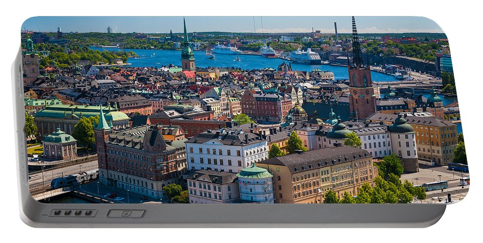 Architectural Portable Battery Charger featuring the photograph Stockholm From Above by Inge Johnsson