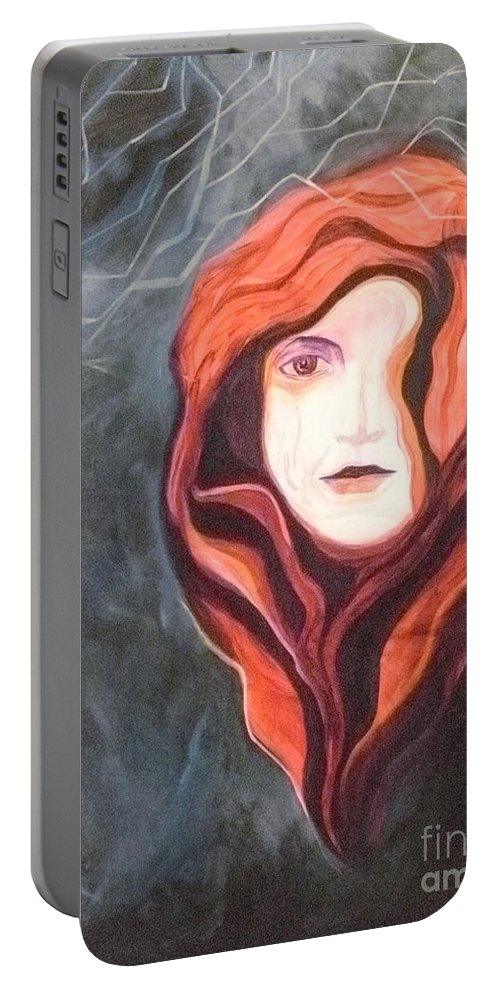 Woman Portable Battery Charger featuring the painting Stoic by Carolyn LeGrand