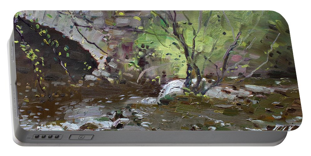 Stone Bridge Portable Battery Charger featuring the painting Stone Bridge At Three Sisters Islands by Ylli Haruni