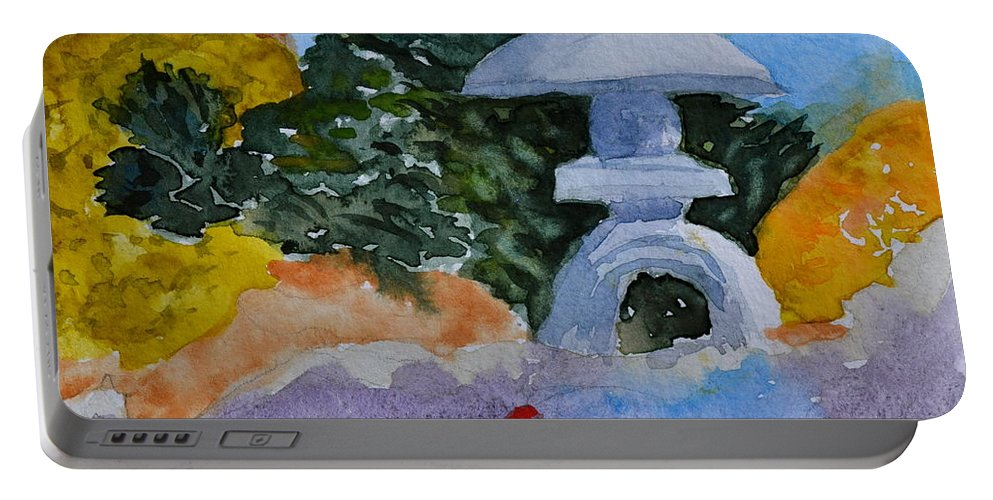 Japanese Portable Battery Charger featuring the painting Stone Lantern by Beverley Harper Tinsley
