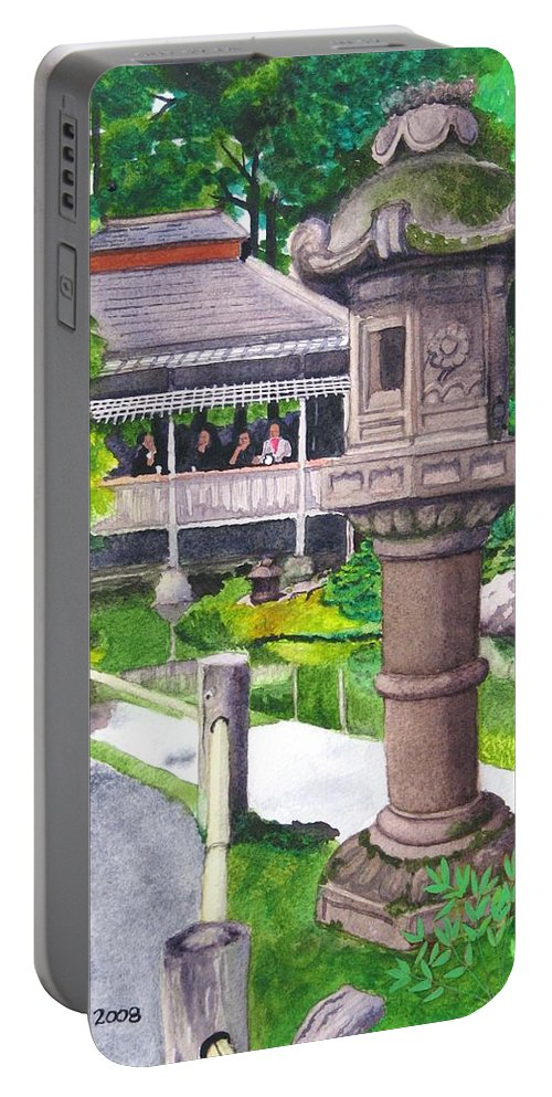 Japanese Portable Battery Charger featuring the painting Stone Lantern by Mike Robles