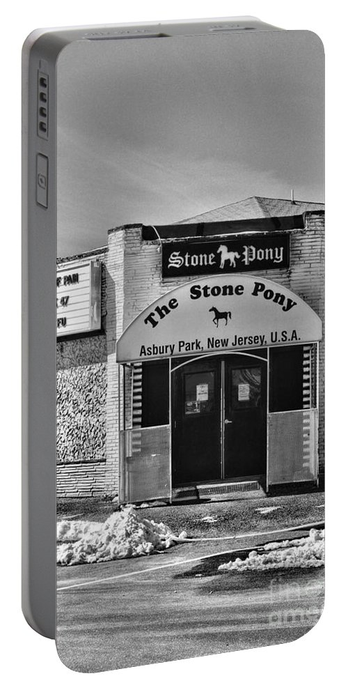 Paul Ward Portable Battery Charger featuring the photograph Stone Pony In Black And White by Paul Ward