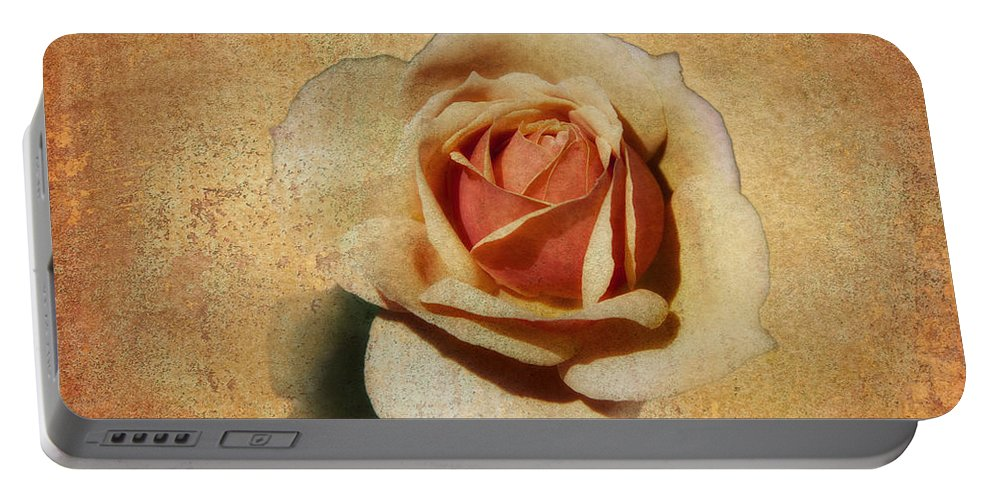 Botanicals Portable Battery Charger featuring the photograph Stonewall Golden Rose by Linda Dunn