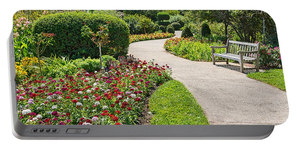 Walkway Portable Battery Charger featuring the photograph Stop And Smell The Roses by Jamie Pham