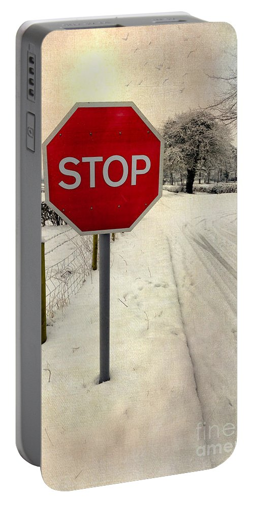British Portable Battery Charger featuring the photograph Stop Sign by Adrian Evans