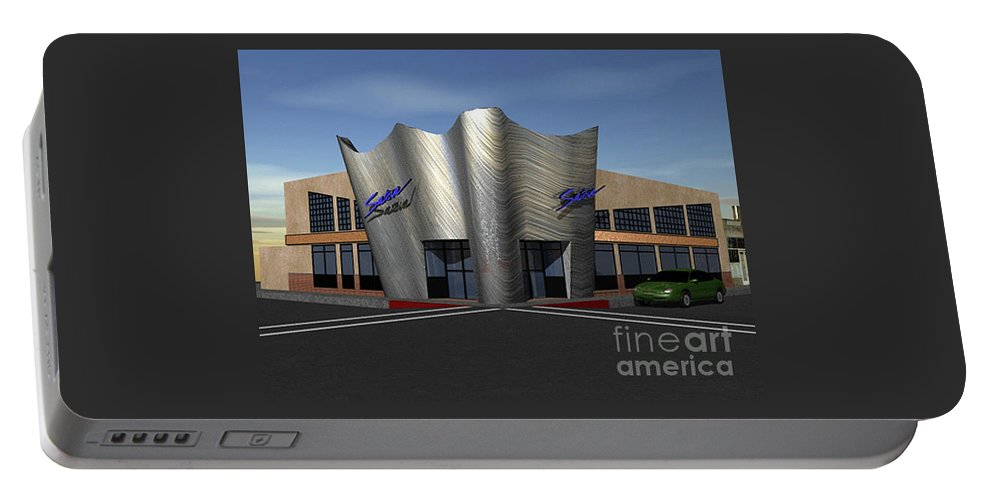 Portable Battery Charger featuring the digital art Store Front Concept by Peter Piatt