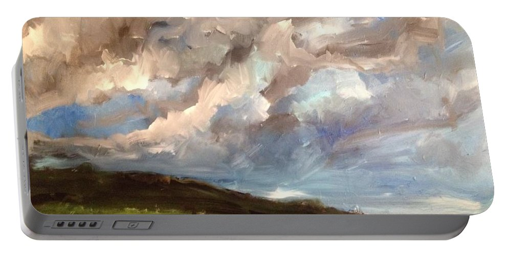 Landscape Portable Battery Charger featuring the painting Storm Brewing by Mark Szwabo