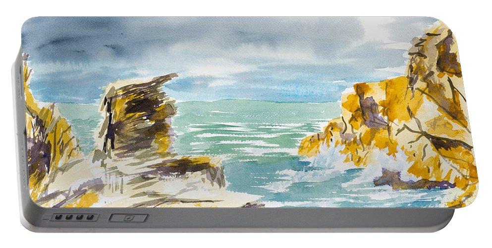 Nature Portable Battery Charger featuring the painting Storm Coming by Walt Brodis