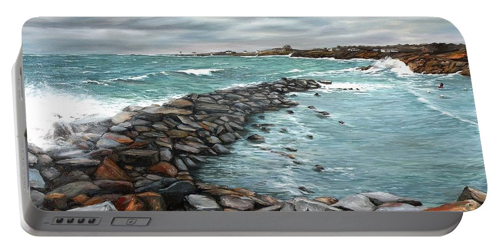 Rockport Portable Battery Charger featuring the painting Storm In Rockport Harbor by Eileen Patten Oliver