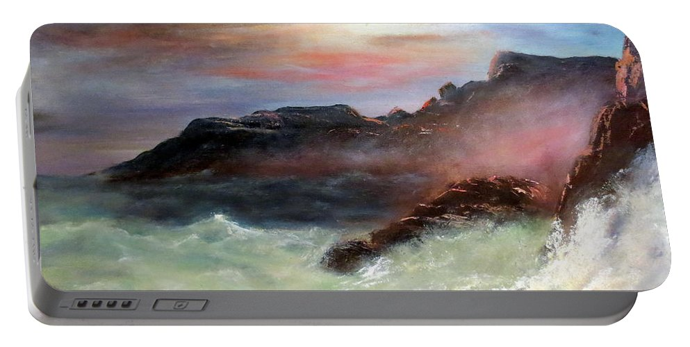 Seascape Portable Battery Charger featuring the painting Storm On Mount Desert Island by Lee Piper