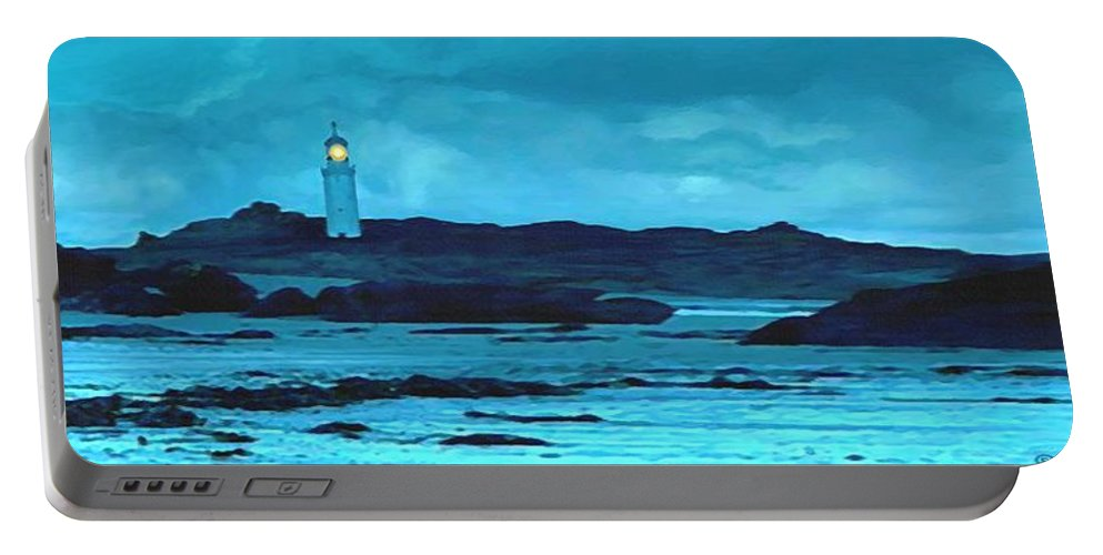 Lighthouse Portable Battery Charger featuring the painting Storm's Brewing by Sophia Schmierer