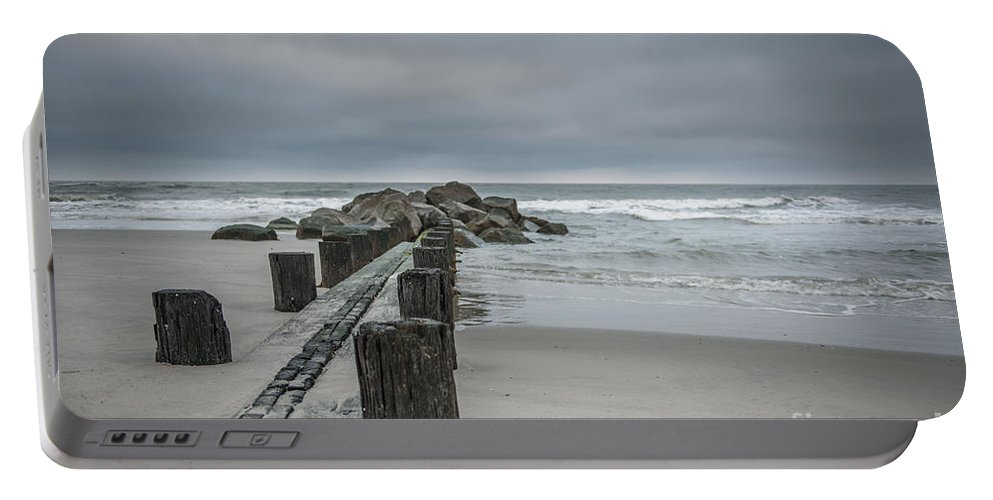 Folly Beach Portable Battery Charger featuring the photograph Stormy Beach Forcast by Dale Powell