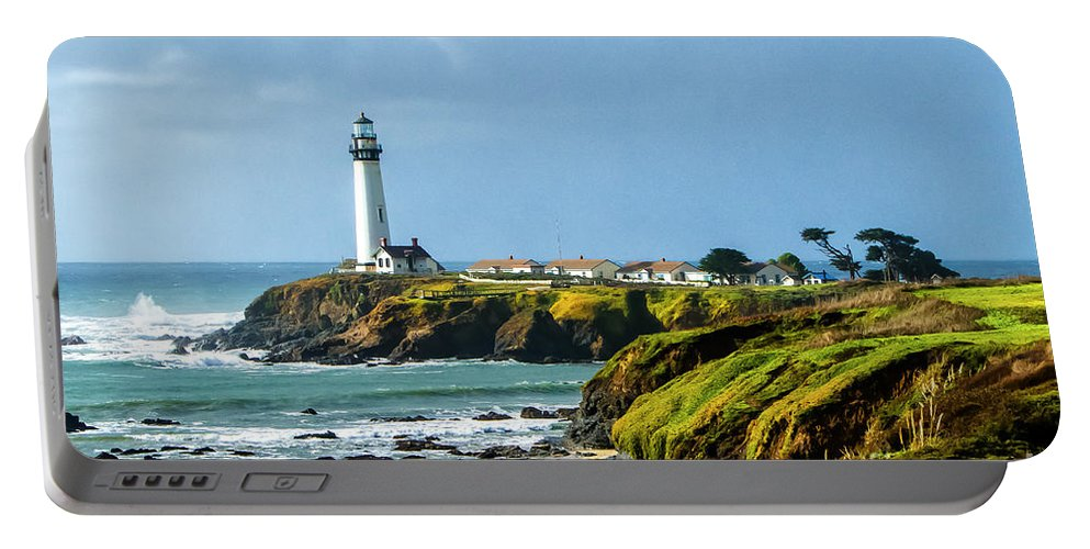 Beach Portable Battery Charger featuring the photograph Stormy Lighthouse by Nicholas Pappagallo Jr