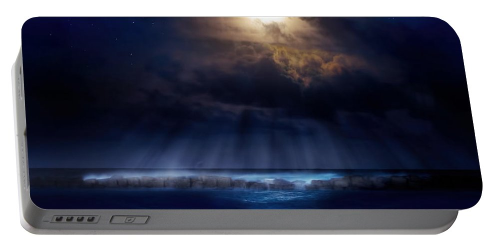 Moon Portable Battery Charger featuring the photograph Stormy Moonrise by Mark Andrew Thomas