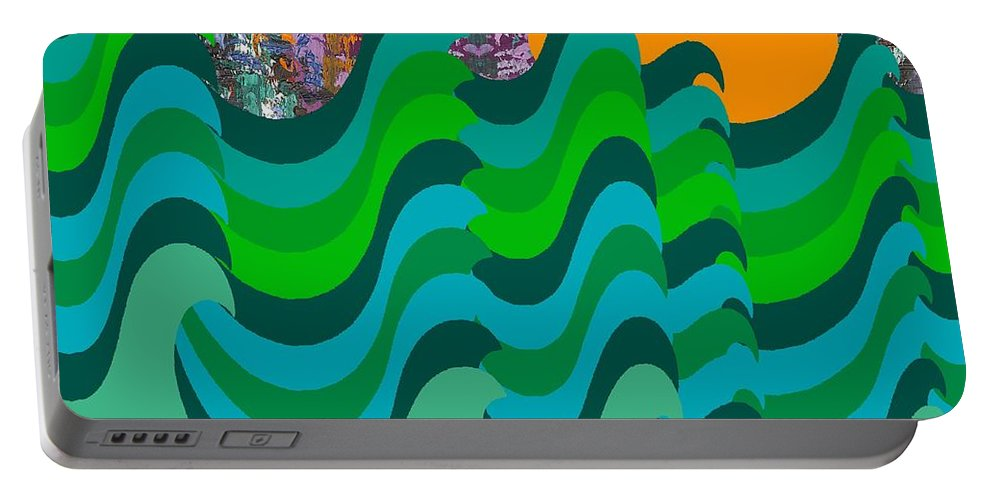 Landscapes Portable Battery Charger featuring the painting Stormy Sea by Patrick J Murphy