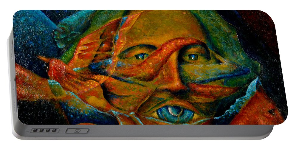 Native American Portable Battery Charger featuring the painting Storyteller by Kevin Chasing Wolf Hutchins