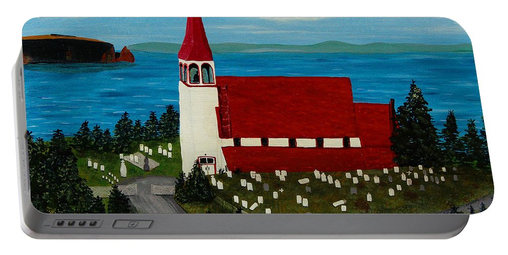 Barbara Griffin Portable Battery Charger featuring the painting St.philip's Church 1999 by Barbara Griffin