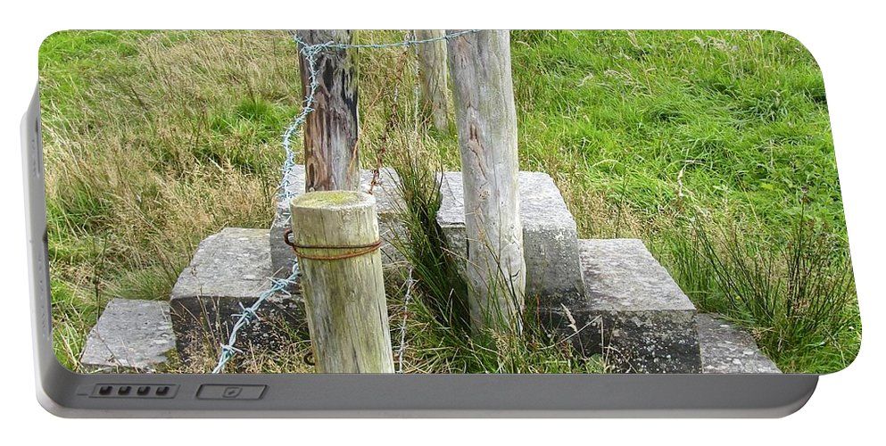 Stile Portable Battery Charger featuring the photograph Straddle The Fence by Charlie and Norma Brock